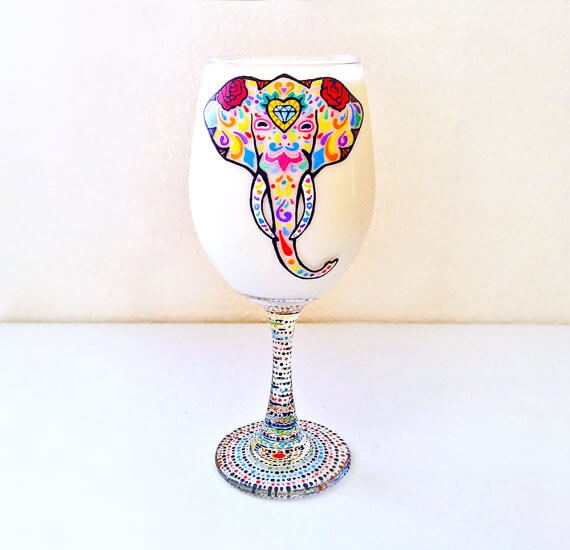 elephant wine glass by NocturnalPandie | bridesmaid yoga pants, tank tops, gifts & more | https://emmalinebride.com/gifts/bridesmaid-yoga-pants-gifts/