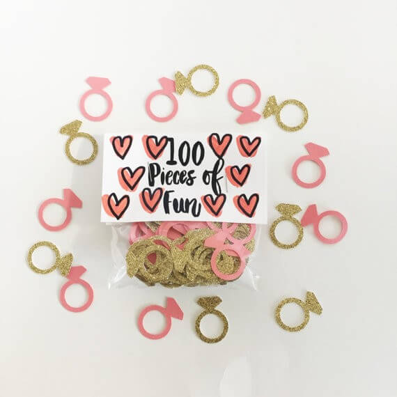 engagement ring confetti by sewlovetheday | via 21 Totally Fun Ring Themed Bridal Shower Ideas → https://emmalinebride.com/planning/ring-themed-bridal-shower/