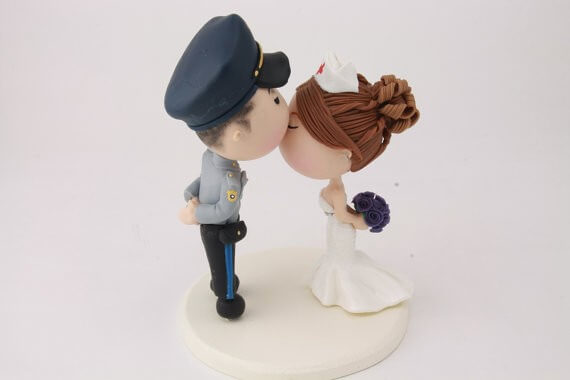 figurine wedding cake toppers police officer and nurse
