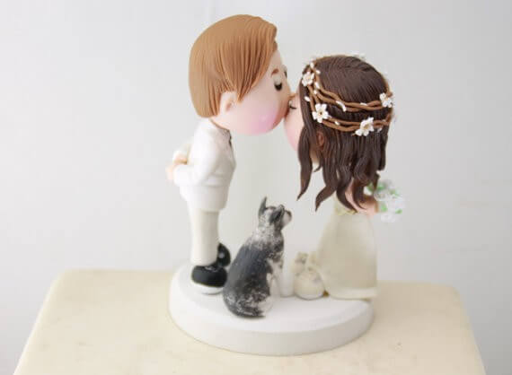 figurine wedding cake toppers rustic hair wreath bride