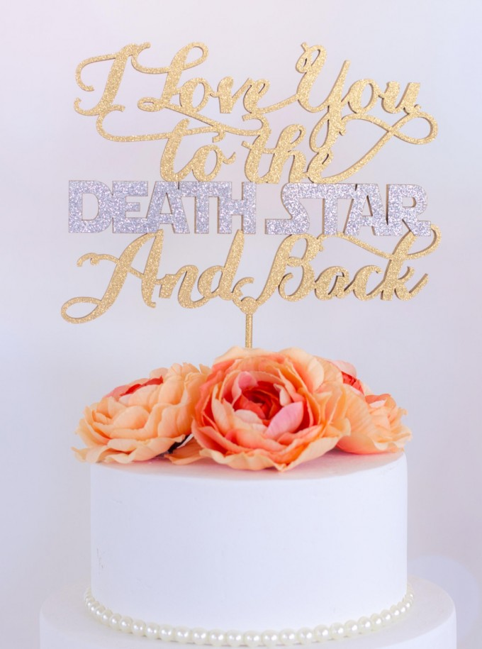 i love you to the death star and back wedding cake topper | win a free cake topper http://emmalinebride.com/2016-giveaway/free-cake-topper/