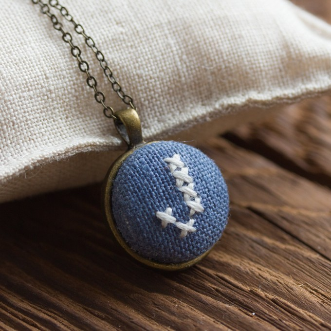 initial necklace in blue | Hand Stitched Initial Necklaces - http://emmalinebride.com/wedding/hand-stitched-initial-necklaces/
