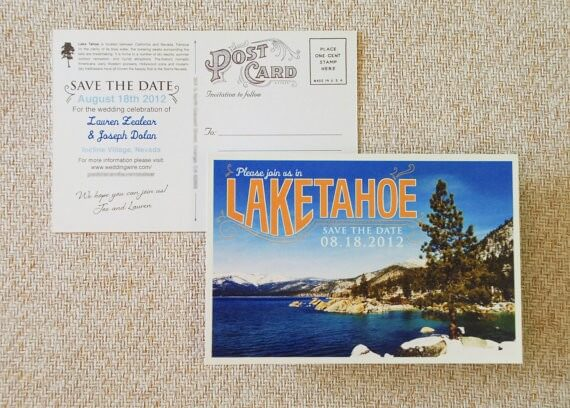 lake tahoe save the date postcard by beyonddesign