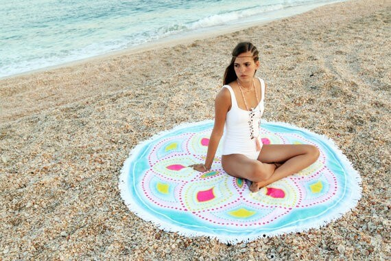 mandala beach towel | bridesmaid yoga pants, tank tops, gifts & more | https://emmalinebride.com/gifts/bridesmaid-yoga-pants-gifts/