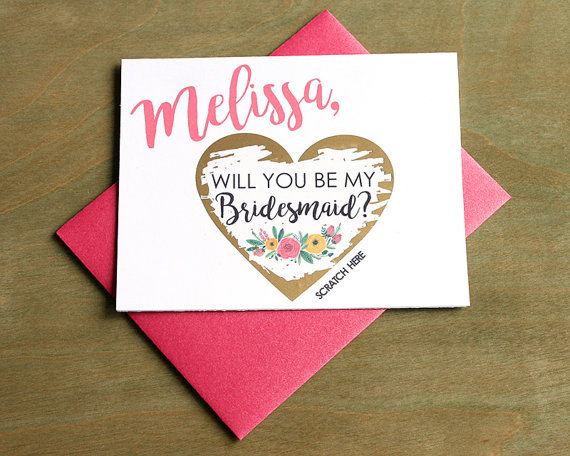 melissa will you be my bridesmaid scratch off cards