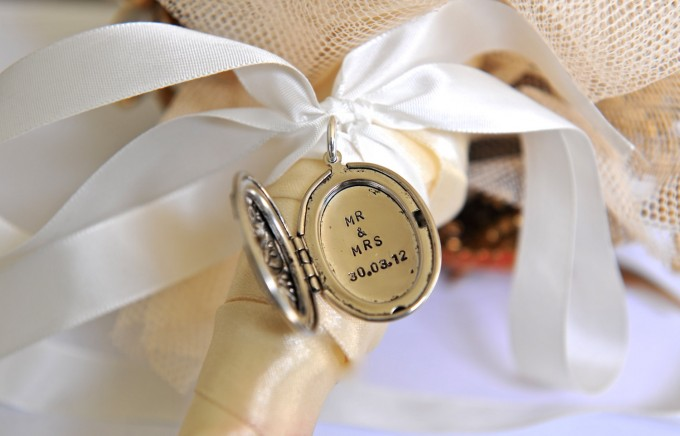 mr mrs bouquet charm locket by sevenblueberries | via 15 Best Gifts for the Bride from Groom + Wedding Gifts for Bride from Groom