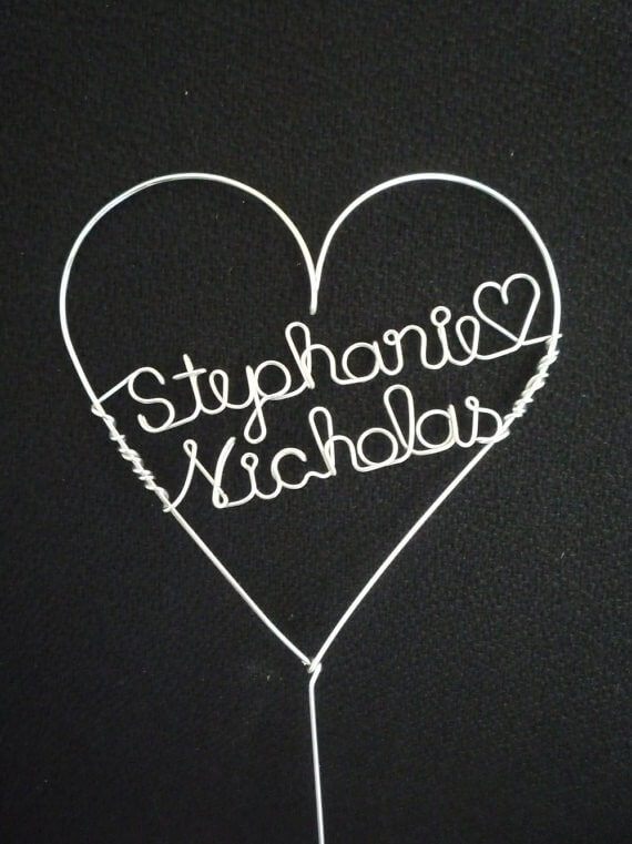 names in heart wire cake toppers