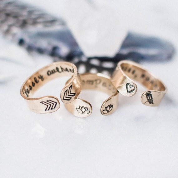 personalized gold rings by ZennedOut | bridesmaid yoga pants, tank tops, gifts & more | https://emmalinebride.com/gifts/bridesmaid-yoga-pants-gifts/