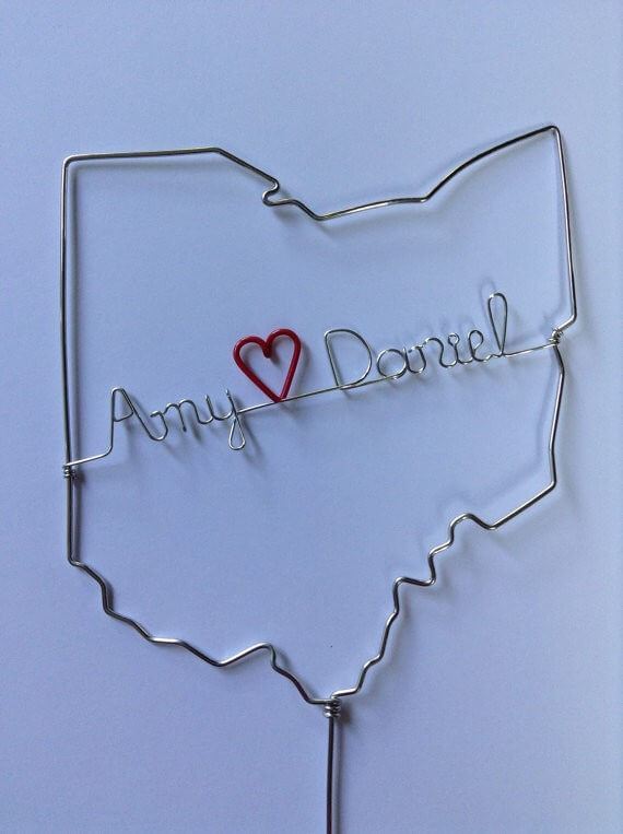 personalized state wire cake toppers