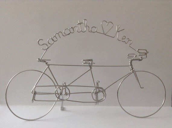 personalized tandem bike wire cake toppers