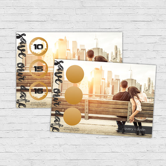 photo save the date scratch off card gold design