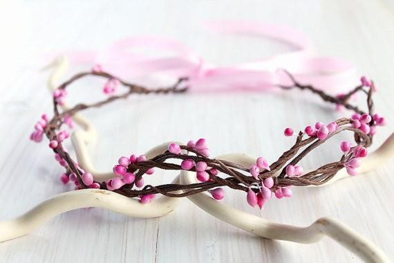 pink hair crown   flower girl hair crown http://emmalinebride.com/flower-girl/hair-crown-pink-berry/