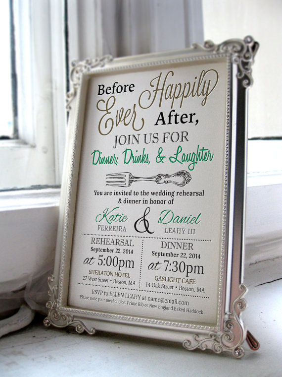 rehearsal dinner invitation by PellucheCreativeLLC | should you send rehearsal dinner invitations? find out: http://emmalinebride.com/rehearsal/should-you-send-rehearsal-dinner-invitations/