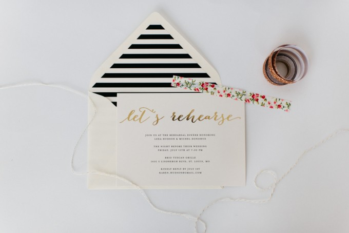 rehearsal dinner invitation | read about: who to invite to the rehearsal dinner - https://emmalinebride.com/rehearsal/who-to-invite-rehearsal-dinner/