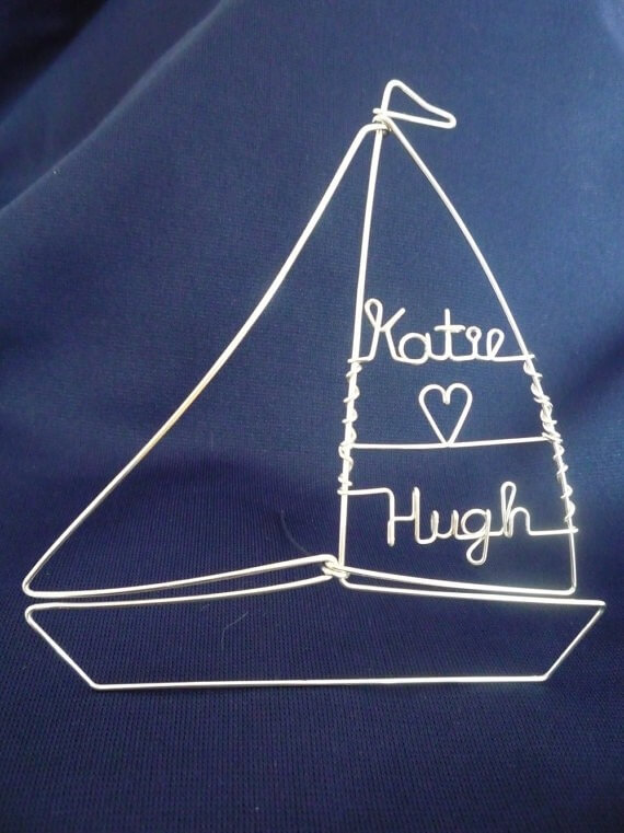 sailboat personalized wire cake toppers