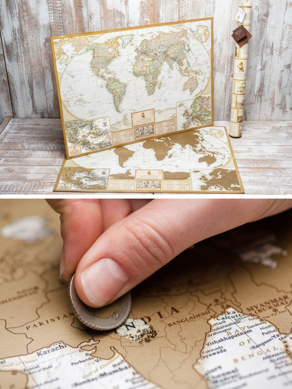 scratch off guest book world map