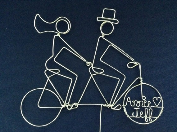 silhouette tandem bike riders wire cake toppers