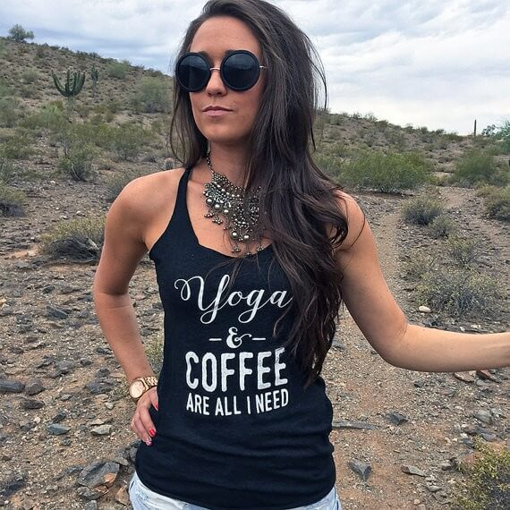 yoga and coffee are all i need tank | bridesmaid yoga pants, tank tops, gifts & more | https://emmalinebride.com/gifts/bridesmaid-yoga-pants-gifts/
