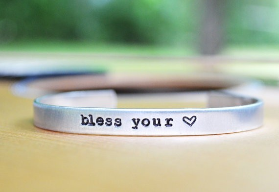 bless your heart cuff bracelet by cynicalredhead | country bridesmaid gifts under $25 via https://emmalinebride.com/rustic/country-bridesmaid-gifts/