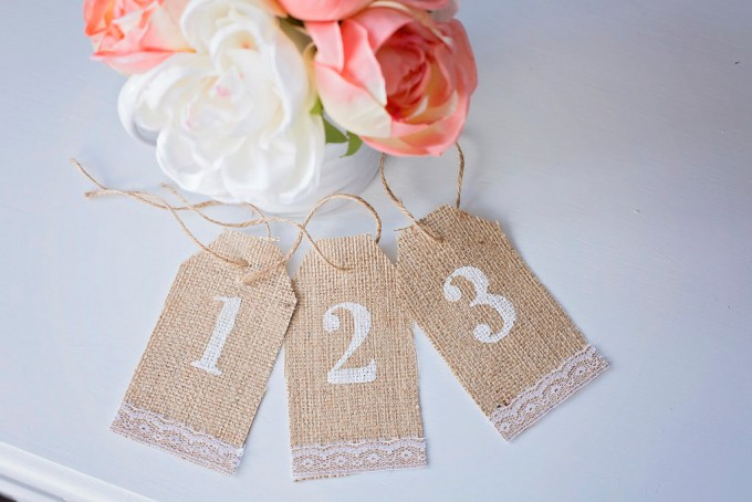 burlap table number tags