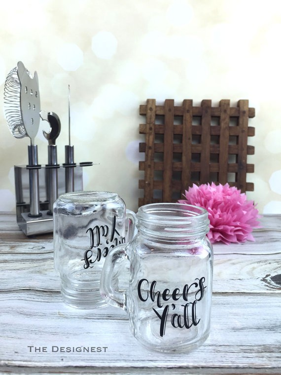 cheers yall mini mason jar shot glasses | country bridesmaid gifts under $25 via https://emmalinebride.com/rustic/country-bridesmaid-gifts/