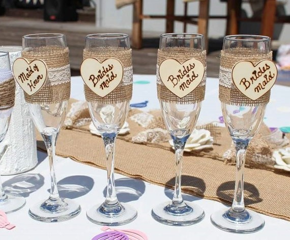 country bridesmaid glasses | country bridesmaid gifts under $25 via http://emmalinebride.com/rustic/country-bridesmaid-gifts/