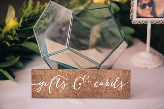 gift sign via 26 Things Guests Love at Weddings from A to Z | https://emmalinebride.com/planning/things-guests-love-at-weddings/ ‎