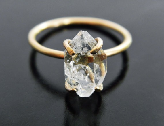 This is a beautiful alternative engagement ring from Etsy | Spotted via http://emmalinebride.com/planning/raw-stone-engagement-rings/