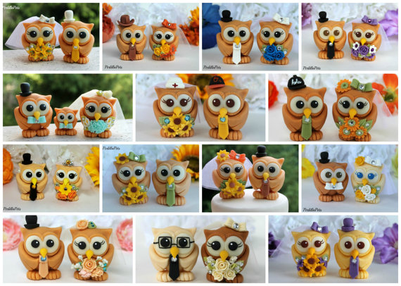 love bird owl cake toppers