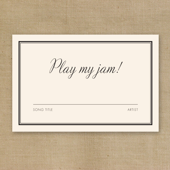 play my jam request card by theniadesigns via 26 Things Guests Love at Weddings from A to Z | https://emmalinebride.com/planning/things-guests-love-at-weddings/