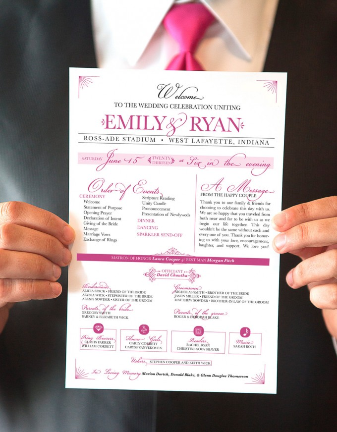 printable hot pink wedding programs