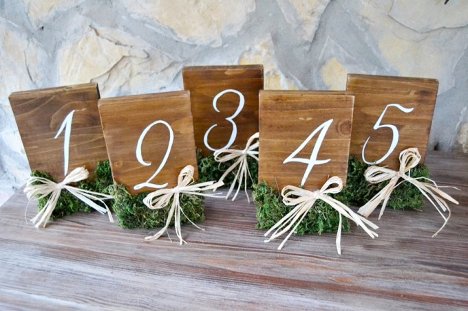 rustic table numbers with moss