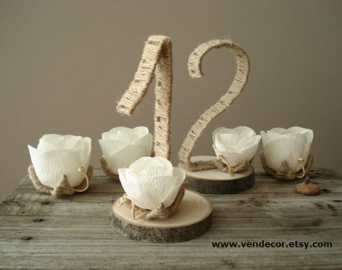 rustic wrapped table numbers