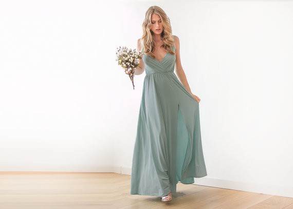 sage bridesmiad dress by blushfashion