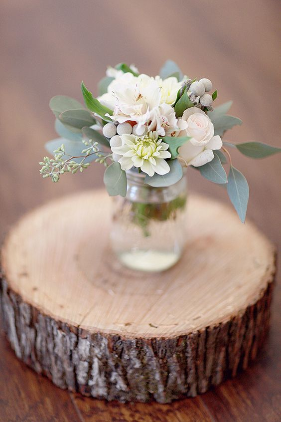 sage centerpiece | via Sage Wedding Ideas from https://emmalinebride.com/color/sage-green-wedding-ideas/