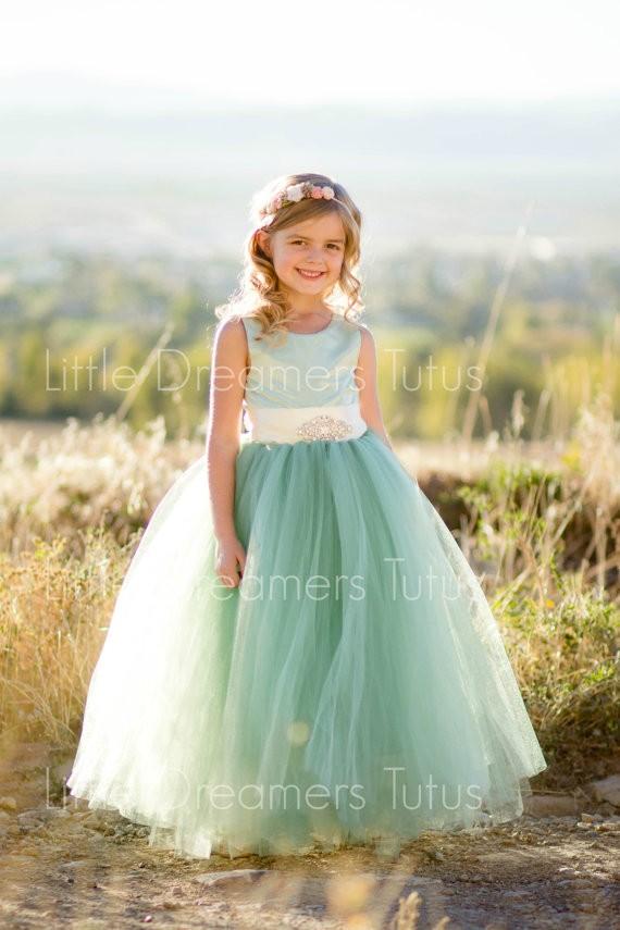 sage flower girl dress by littledreamersinc | via Sage Wedding Ideas from http://emmalinebride.com/color/sage-green-wedding-ideas/