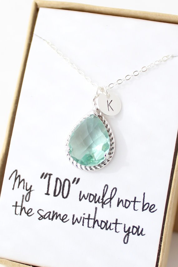 sage green necklace for bridesmaids | via Sage Wedding Ideas from http://emmalinebride.com/color/sage-green-wedding-ideas/