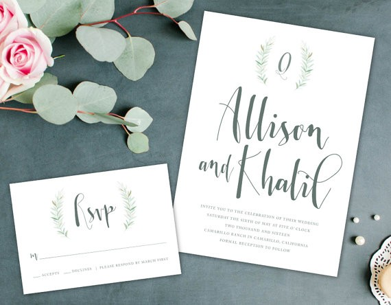 sage green wedding invitations by AlexaNelsonPrints | via Sage Wedding Ideas from https://emmalinebride.com/color/sage-green-wedding-ideas/