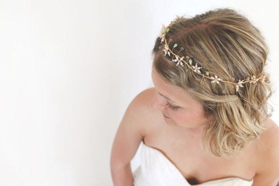 sage hair wreath by kerryannstokes | via Sage Wedding Ideas from http://emmalinebride.com/color/sage-green-wedding-ideas/