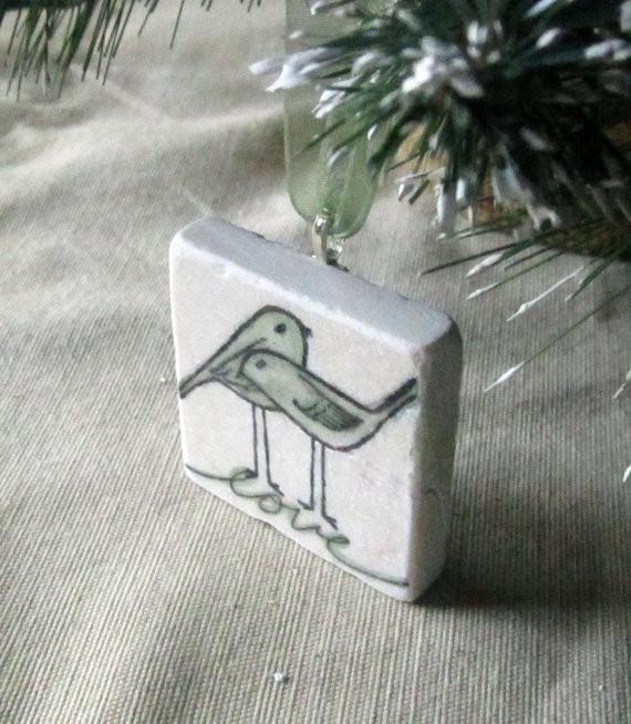 sage love bird ornaments | via Sage Wedding Ideas from http://emmalinebride.com/color/sage-green-wedding-ideas/