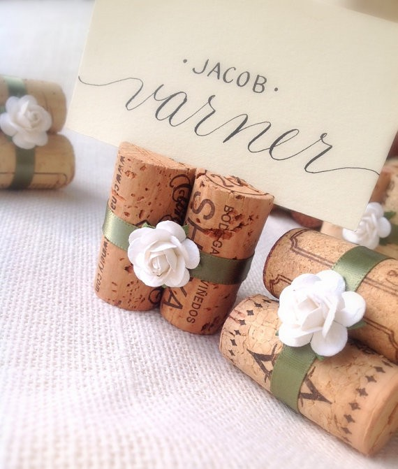sage place card holders by karasvineyardwedding | via Sage Wedding Ideas from https://emmalinebride.com/color/sage-green-wedding-ideas/