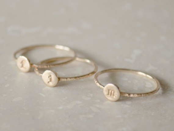 Stacking initial rings by fruitionjewelry