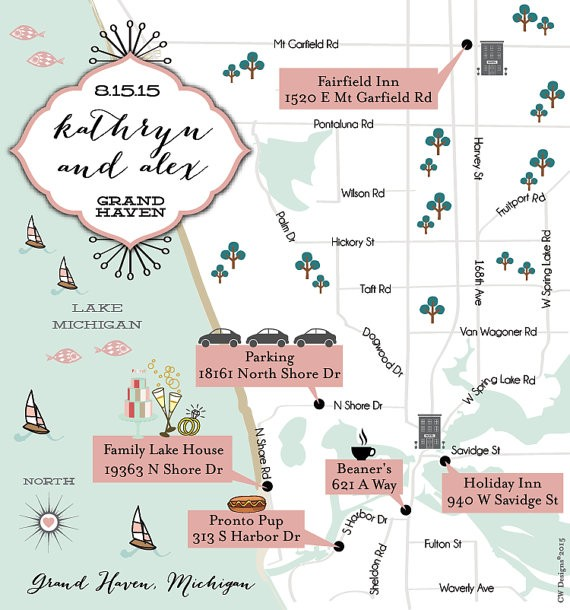 wedding map with directions by cwdesigns2010 via 26 Things Guests Love at Weddings from A to Z | https://emmalinebride.com/planning/things-guests-love-at-weddings/ ‎