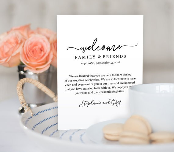 wedding welcome note by mintypaperieshop via 26 Things Guests Love at Weddings from A to Z | https://emmalinebride.com/planning/things-guests-love-at-weddings/ ‎