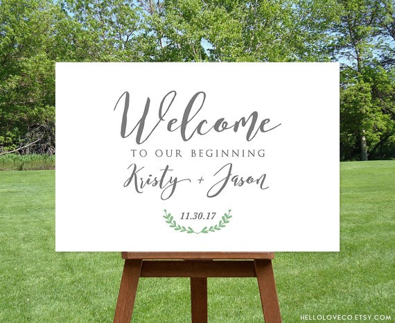 welcome to our wedding sign | via Sage Wedding Ideas from https://emmalinebride.com/color/sage-green-wedding-ideas/