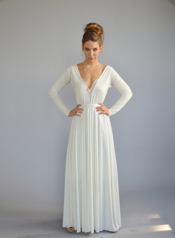 Floor length gown by Barzelai | via Affordable Reception Dresses - http://emmalinebride.com/bride/affordable-reception-dresses/