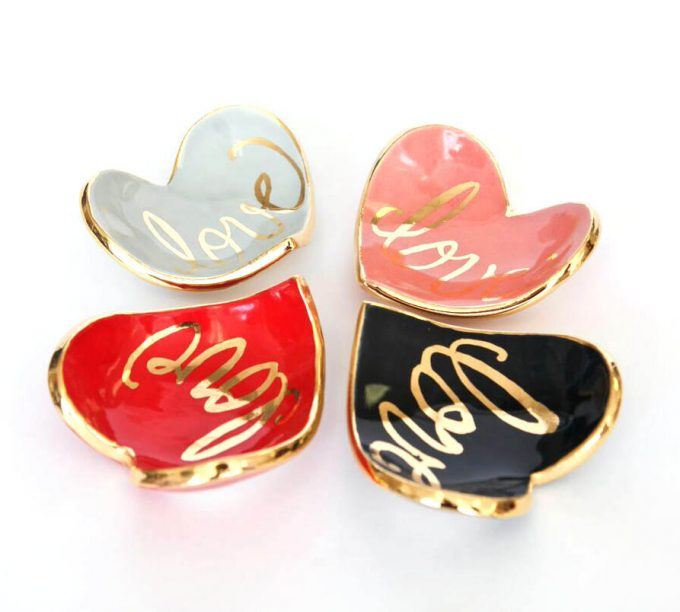 Heart Shaped Ring Dish by Susan Gordon Pottery | http://etsy.me/2cBOEgG | via Emmaline Bride's Handmade-a-Day Pick: https://emmalinebride.com/wedding/heart-shaped-ring-dish/