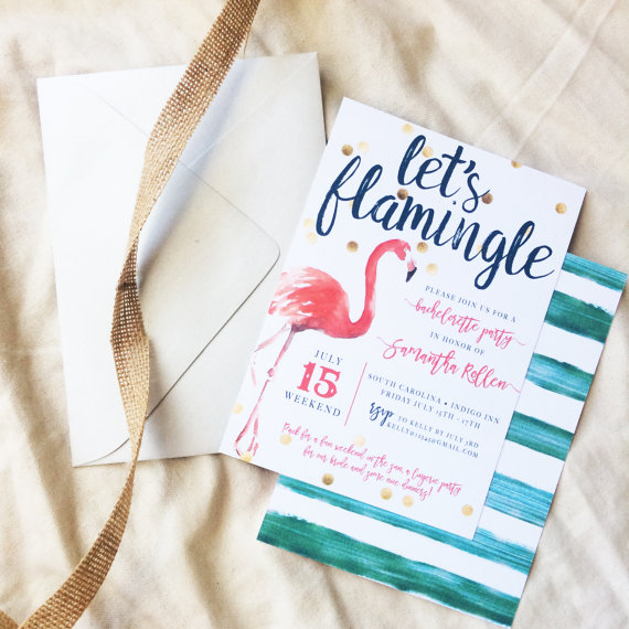 Let's Flamingle Invitation by Kristia Design | via Palm Tree Bachelorette Party Ideas http://bit.ly/2db3WOL