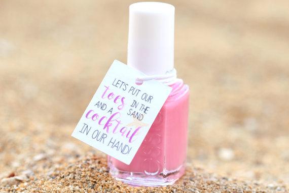 Nail polish favors by Pink Fox Paper Crafts | via Palm Tree Bachelorette Party Ideas http://bit.ly/2db3WOL
