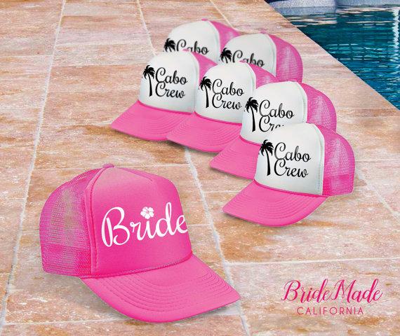 Palm Tree Bachelorette Party Hats by Bride Made California | via Palm Tree Bachelorette Party Ideas http://bit.ly/2db3WOL
